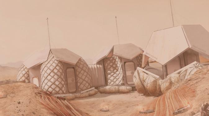 Pemukiman yang ada di Mars, begitu minimalis dengan padanan satu warna (Doc: Foster+ Partners)