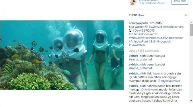 Putri Indonesia 2015, Anindya K Putri makin sering pamer foto hot menggunakan bikini di akun instagram miliknya.
