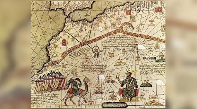 Ilustrasi Mansa Musa menunggangi unta. (Catalan Atlas of 1375)