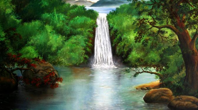 48 Gambar Lukisan Pemandangan Air Terjun Yang Mudah Digambar Gratis Terbaru