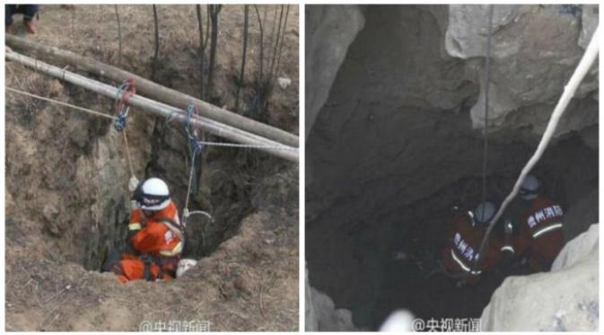 Menurut kakek sang bocah lelaki, cucunya terjerumus ke dalam lobang ketika sedang bermain-main. (Sumber cuplikan video CCTV)