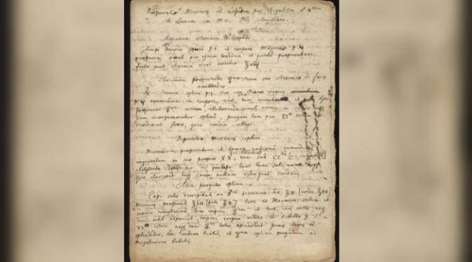 Manuskrip tentang alkimia yang ditulis tangan oleh Isaac Newton (Foto: Chemical Heritage Foundation).