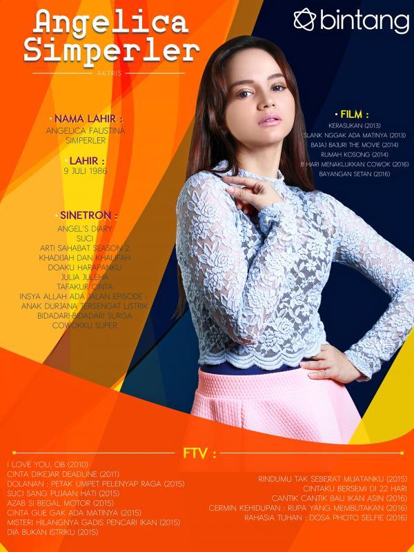 Celeb Bio Angelica Simperler (Fotografer: Galih W. Satria, Desain: Muhammad Iqbal Nurfajri/bintang.com)