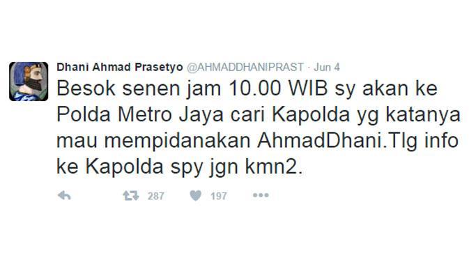 Kicauan Ahmad Dhani pada 4 Juni 2016. (via Twitter.com)
