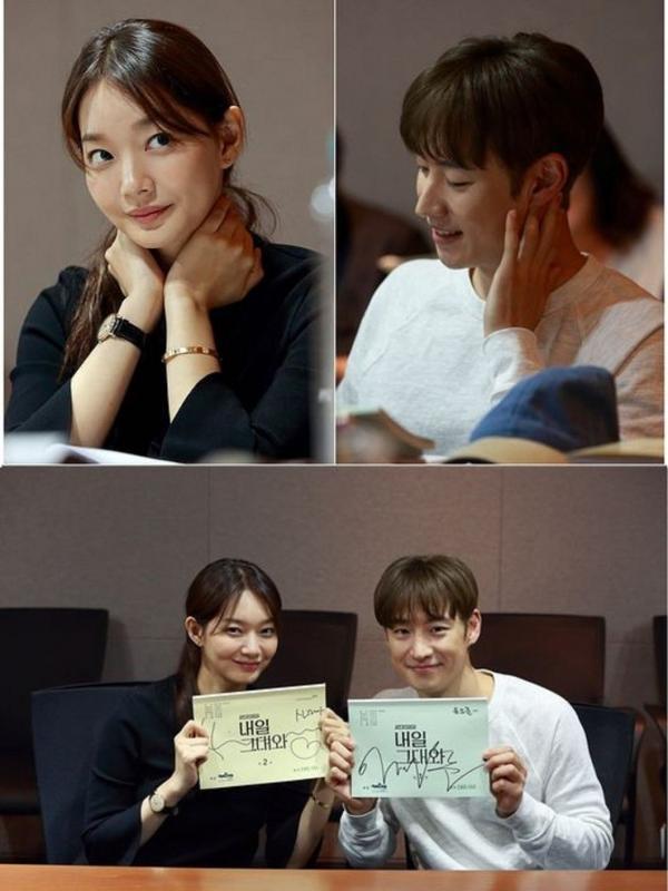 Shin Min Ah-Lee Je Hoon melakukan reading drama Tomorrow with You. Foto: Kpophearld