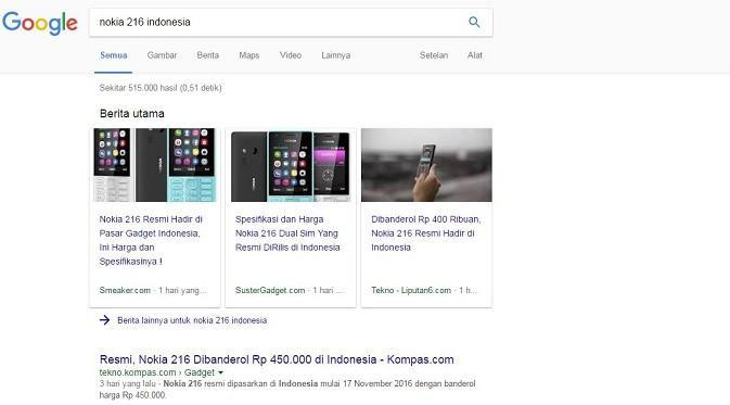 Tampilan hasil pencarian Google di desktop kini tak lagi menampilkan bagian 'In the news' melainkan 'Top Stories' (sumber: google.com)