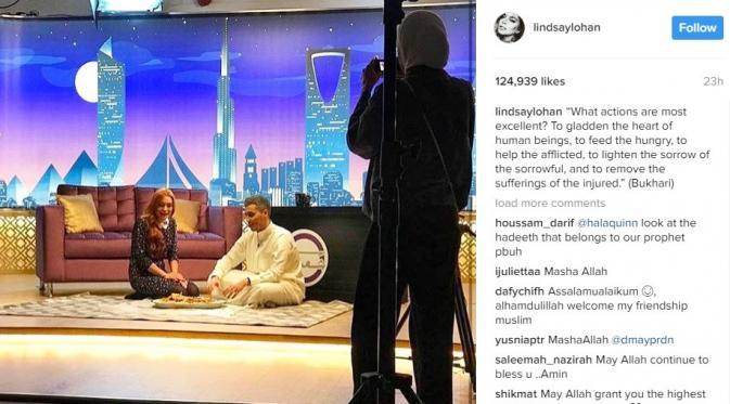 Lindsay Lohan menuliskan hadis Nabi Muhammad SAW yang diriwayatkan oleh Bukhari. (Instagram/lindsaylohan)