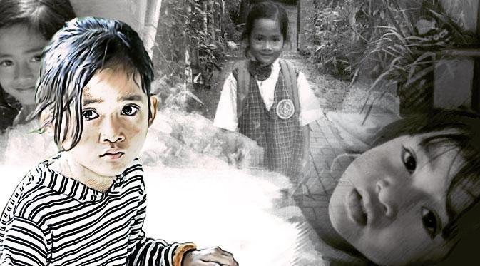 Angeline, bocah berusia 8 tahun yang pada Bulan Mei lalu dilaporkan hilang dan ditemukan tiga minggu kemudian dengan keadaan tak bernyawa.