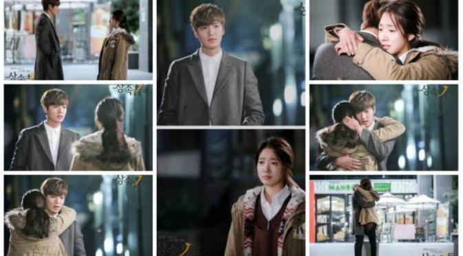 Akting  Lee Min Ho dan Park Shin Hye di drama The Heirs.