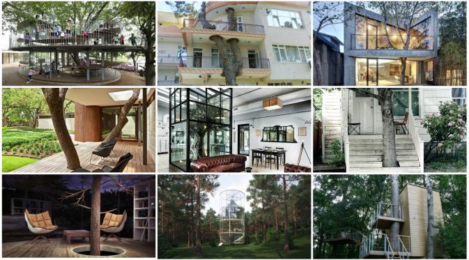 Beberapa contoh pohon dan tumbuhan yang menyatu dengan bangunan. (Bored Panda)